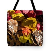 Mushrooms In Fall Leaves Tote Bag