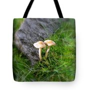 Mushrooms In Grass Tote Bag