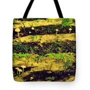 Mushrooms Lichen And Moss On Log Tote Bag