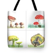 Mushrooms On Parade Collage Tote Bag