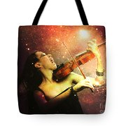 Music Explodes In The Night Tote Bag by Linda Lees