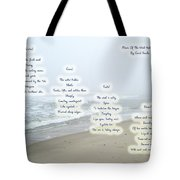 Music Of The Wind And Waves Poem On Ocean Background Tote Bag