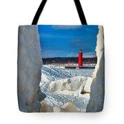 Muskegon Light Thru The Ice Tote Bag