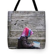 Muslim Woman At Mosque Tote Bag