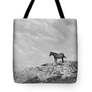 Mustang On Hill 1 Bw Tote Bag