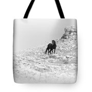Mustang On Hill 2 Bw Tote Bag by Roger Snyder