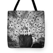 My Daisies Black And White Version Tote Bag