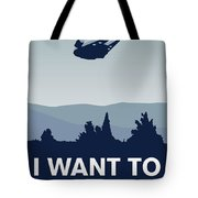My I Want To Believe Minimal Poster-millennium Falcon Tote Bag