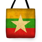 Myanmar Burma Flag Vintage Distressed Finish Tote Bag
