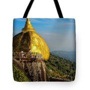 Myanmar's Golden Rock Pagoda Tote Bag