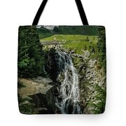 Myrtle Falls In Front Of Mt. Rainier Tote Bag