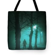 Mysterious Man In A Foggy Forest Tote Bag