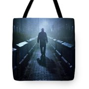 Mysterious Man In Fog At Night Tote Bag