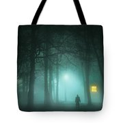 Mysterious Man In Fog With House And Window Light Tote Bag