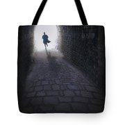 Mysterious Man Running Out Of A Tunnel Tote Bag