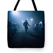 Mysterious Man With Pistol At Night In Fog Tote Bag