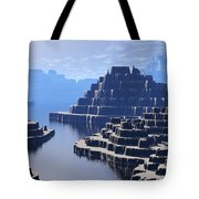 Mysterious Terraced Mountains Tote Bag