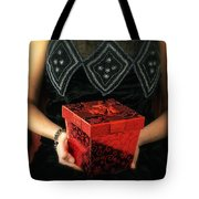 Mysterious Woman With Red Box Tote Bag