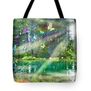 Mystic Foggy Forest Tote Bag by Alixandra Mullins