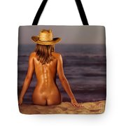 Naked Woman Sitting At The Beach On Sand Tote Bag