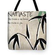Namaste Greeting Card Tote Bag by Linda Woods