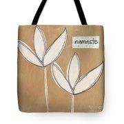 Namaste White Flowers Tote Bag