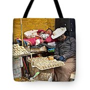 Nap Time For Child And Street Shopkeeper In Lhasa-tibet   Tote Bag