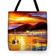 Naples-sunset Above Vesuvius - Palette Knife Oil Painting On Canvas By Leonid Afremov Tote Bag