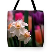 Narcissus And Tulips Tote Bag by Rona Black