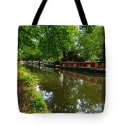 Narrowboats Moored On The Wey Navigation In Surrey Tote Bag by Louise Heusinkveld