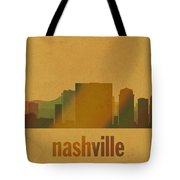 Nashville Tennessee Skyline Watercolor On Parchment Tote Bag
