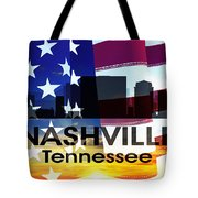 Nashville Tn Patriotic Large Cityscape Tote Bag by Angelina Vick