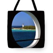 Nassau Lighthouse Porthole View Tote Bag