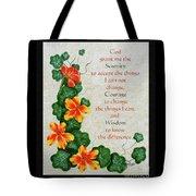 Nasturtiums And Serenity Prayer Tote Bag