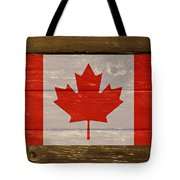 Canada National Flag On Wood Tote Bag
