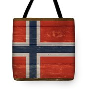 Norway National Flag On Wood Tote Bag