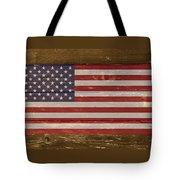 United States Of America National Flag On Wood Tote Bag
