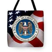 National Security Agency - N S A Emblem Emblem Over American Flag Tote Bag