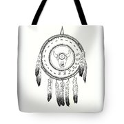 Native American Ceremonial Shield Number 2 Black And White Tote Bag