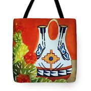 Native American Wedding Vase And Cactus-square Format Tote Bag