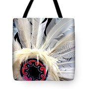 Native American White Feathers Headdress Tote Bag