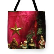 Nativity Scene In Red Tote Bag