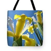 Nature Art Prints Yellow White Irises Flowers Tote Bag