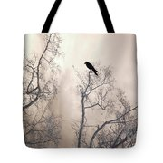 Nature Raven Crow Trees - Surreal Fantasy Gothic Nature Raven Crow In Trees Sepia Print Decor Tote Bag
