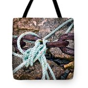 Nautical Lines And Rusty Chains Tote Bag