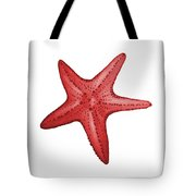 Nautical Red Starfish Tote Bag by Michelle Eshleman