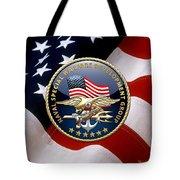 Naval Special Warfare Development Group - D E V G R U - Emblem Over U. S. Flag Tote Bag