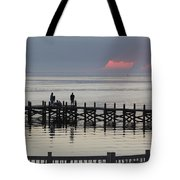 Navarre Beach Sunset Pier 18 Tote Bag