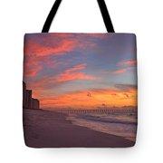 Navarre Pier And Navarre Beach Skyline At Twilight Tote Bag