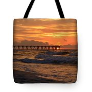 Navarre Pier At Sunrise With Waves Tote Bag
